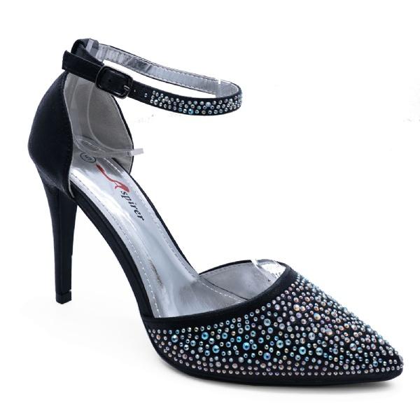 Strappy Wedding Black Shoes Sandals Bridesmaid E2W9IDH